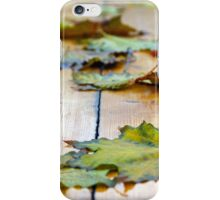 Selective focus on autumn maple leaves with shallow depth of field iPhone Case/Skin