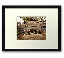 Crew of an ACS M10 (Wolverine) self-propelled gun, 703rd Tank Destroyer Battalion of the 3rd Armored Division, pose in a pit near the French town of Marigny. Framed Print