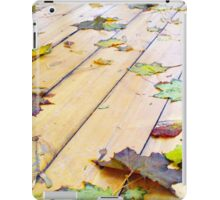 Close-up view on a wet green and yellow leaves of maple iPad Case/Skin