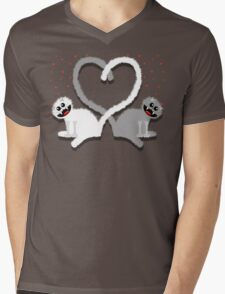 KITTENHEART Mens V-Neck T-Shirt