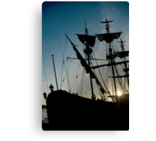 Morning in the harbour Canvas Print