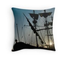 Morning in the harbour Throw Pillow