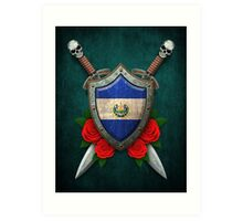 Salvadorian Flag on a Worn Shield and Crossed Swords Art Print