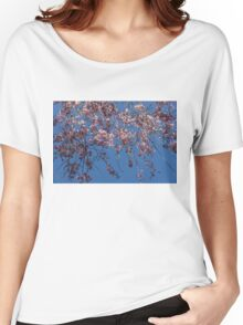 Pretty in Pink - a Flowering Cherry Tree and Blue Spring Sky Women's Relaxed Fit T-Shirt