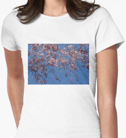 Pretty in Pink - a Flowering Cherry Tree and Blue Spring Sky Womens Fitted T-Shirt