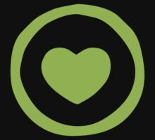 Lime Green Heart T-shirt by Nhan Ngo