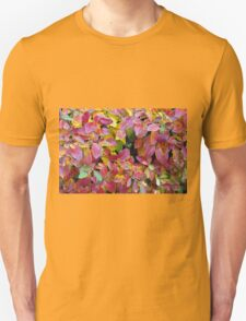 Background of bright red and yellow leaves of a bush T-Shirt