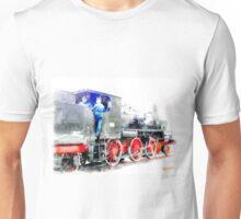 Rail workers on steam locomotive Unisex T-Shirt