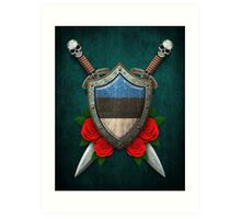 Estonian Flag on a Worn Shield and Crossed Swords Art Print