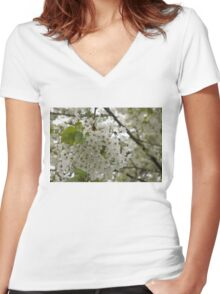 Springtime Dreams - Masses of White Blossoms Women's Fitted V-Neck T-Shirt
