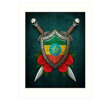 Ethiopian Flag on a Worn Shield and Crossed Swords Art Print
