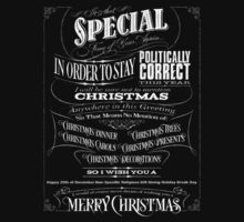 Politically Correct or Incorrect Black Chalkboard Typography  Christmas - I Kids Tee