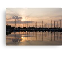 Heavenly Sunrays - Peaches-and-Cream Sunrise with Yachts Canvas Print