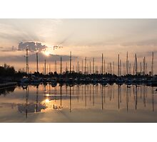 Heavenly Sunrays - Peaches-and-Cream Sunrise with Yachts Photographic Print