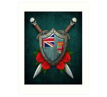 Fiji Flag on a Worn Shield and Crossed Swords Art Print
