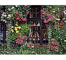 Floral Framed Window At Wells Somerset Photographic Print