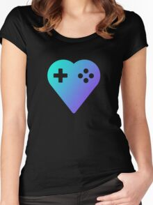 Blue We Love Gaming Heart Women's Fitted Scoop T-Shirt