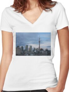 Up Close And Personal - Toronto's Skyline From The Island Airport Women's Fitted V-Neck T-Shirt