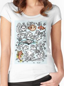 Cartoon Fishies Women's Fitted Scoop T-Shirt