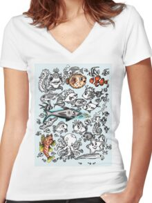 Cartoon Fishies Women's Fitted V-Neck T-Shirt