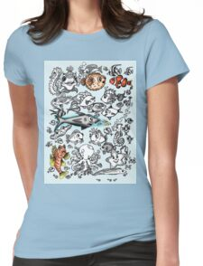 Cartoon Fishies Womens Fitted T-Shirt