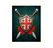 Georgian Flag on a Worn Shield and Crossed Swords Art Print