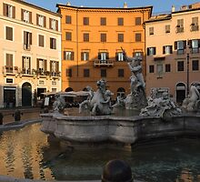 Early Morning Warmth - Neptune Fountain on Piazza Navona in Rome, Italy by Georgia Mizuleva