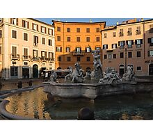 Early Morning Warmth - Neptune Fountain on Piazza Navona in Rome, Italy Photographic Print