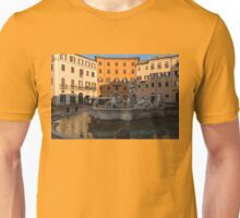 Early Morning Warmth - Neptune Fountain on Piazza Navona in Rome, Italy Unisex T-Shirt