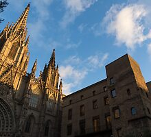 Warm Sun Glow On The Cathedral Of Barcelona by Georgia Mizuleva
