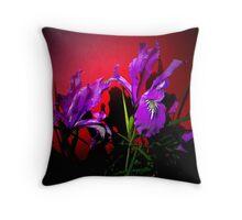 Wild Iris On Red Throw Pillow