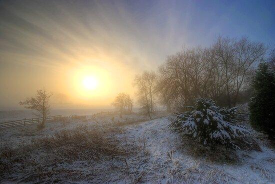 Snowy Landscape Sunrise  by Yhun Suarez