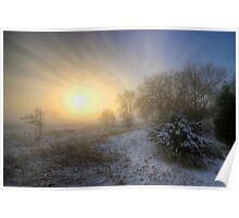 Snowy Landscape Sunrise  Poster