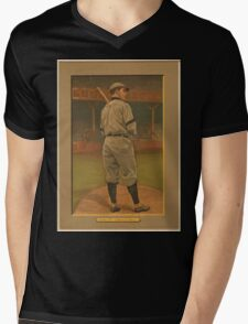 Benjamin K Edwards Collection Wildfire Schulte Chicago Cubs baseball card portrait Mens V-Neck T-Shirt