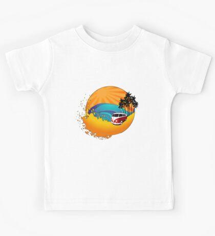 Camper on sunset beach Kids Tee