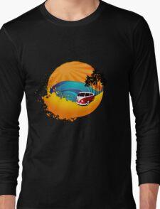 Camper on sunset beach Long Sleeve T-Shirt