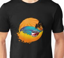 Camper on sunset beach Unisex T-Shirt