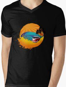 Camper on sunset beach Mens V-Neck T-Shirt