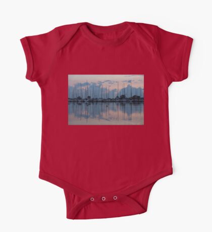 Pink and Blue Peace - Still Sailboat Reflections  One Piece - Short Sleeve