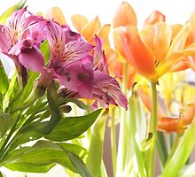 Going By... Alstroemeria and Tulips by Linda  Makiej