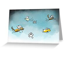 Flying Dogs Greeting Card