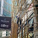 High up the bamboo scaffold by robigeehk