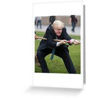 Boris Johnson grits his teeth during tug of war Greeting Card