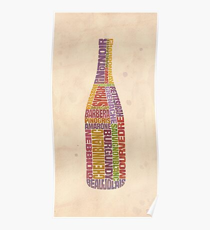 Burgundy Wine Word Bottle Poster