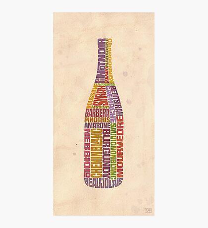 Burgundy Wine Word Bottle Photographic Print