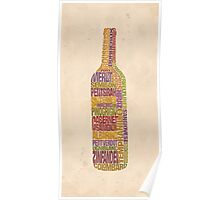 Bordeaux Wine Word Bottle Poster