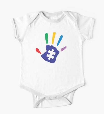 Colorful Autism Hand One Piece - Short Sleeve