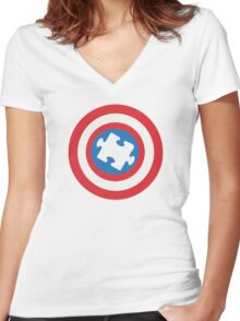 Captain Au-some Women's Fitted V-Neck T-Shirt