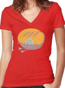 Sweet Dreams of the Owl Pups on their Night Journey Women's Fitted V-Neck T-Shirt