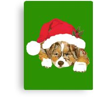 Red Merle Christmas Puppy in a Santa Hat Canvas Print